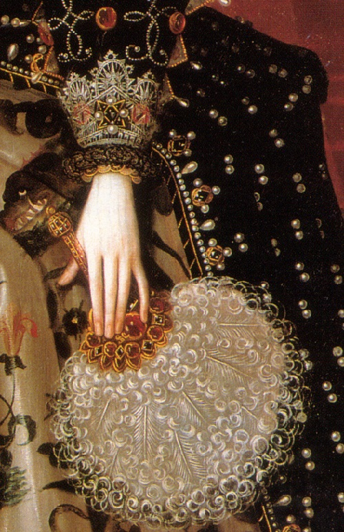 Elizabeth I of England. Hardwick 1592, detail of costume