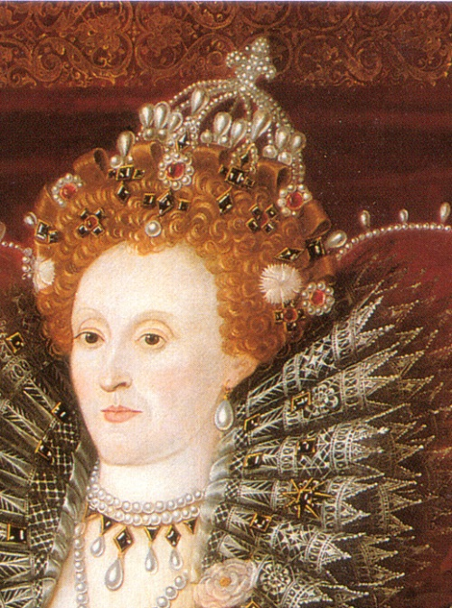 Elizabeth I of England. Hardwick 1592, detail of hair decoration