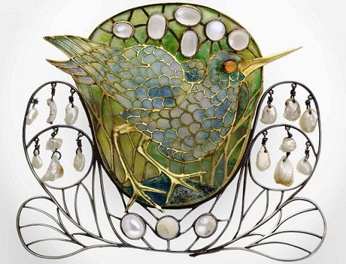 Enamel marsh-bird decorated with moonstones and pearls by Charles Robert Ashbee as a hair ornament that was later converted to a brooch