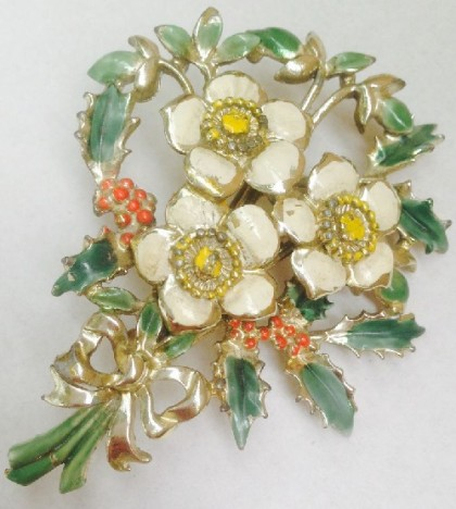 Christmas rose. Exquisite signed Vintage brooch