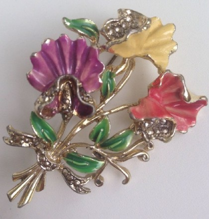 Exotic flowers. Exquisite signed Vintage brooch