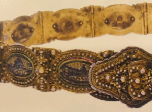 Female belt with a picture of the famous monasteries of historical Armenia. Van. The end of the XIX century, detail