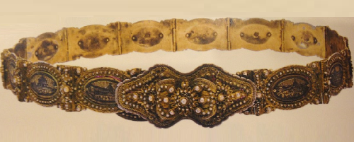 Female belt with a picture of the famous monasteries of historical Armenia. Van. The end of the XIX century