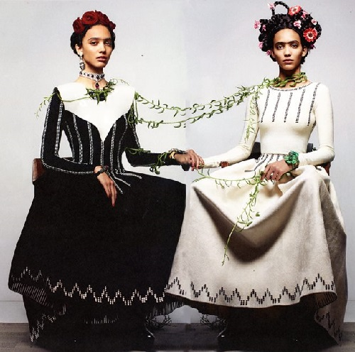 Frida Kahlo Inspired Shoot in Fall's CR Fashion Book covered by Lydia Courteille Jewelry