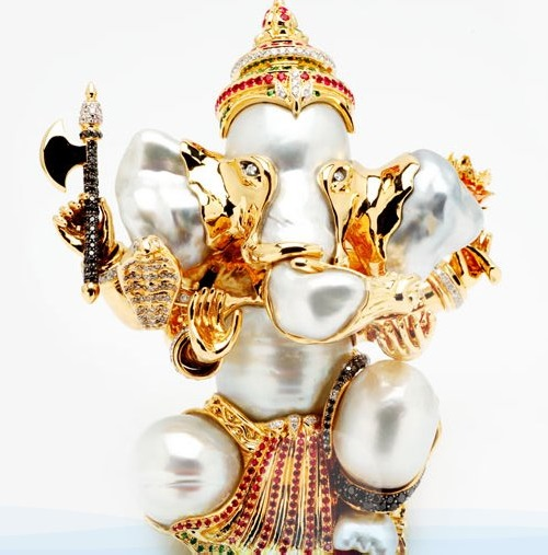 Ganesha pendant. Pearl Jewelry by Mario Buzzanca Gioielli Co Ltd