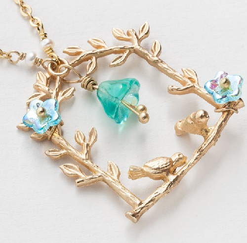 Gold Necklace tree leaf branch with birds aquamarine blue opal glass flowers genuine pearls pendant