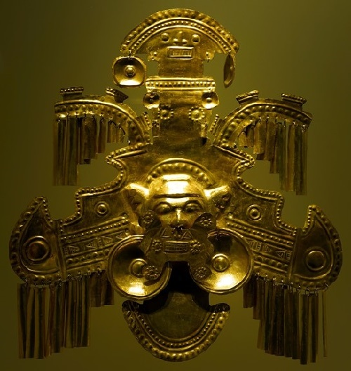 Ancient Jewellery exhibited in Gold Museum. Bogota, Colombia