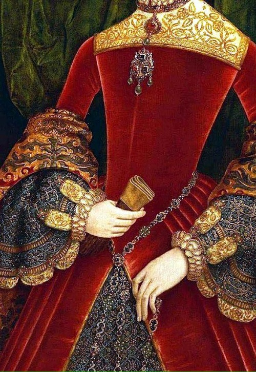 Luxurious Tudor era costume detail