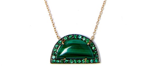 Malachite rainbow pendant, tsavorite and rhodium. Andrea Fohrman