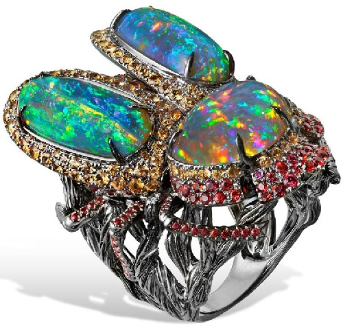 Massive ring with Australian opals