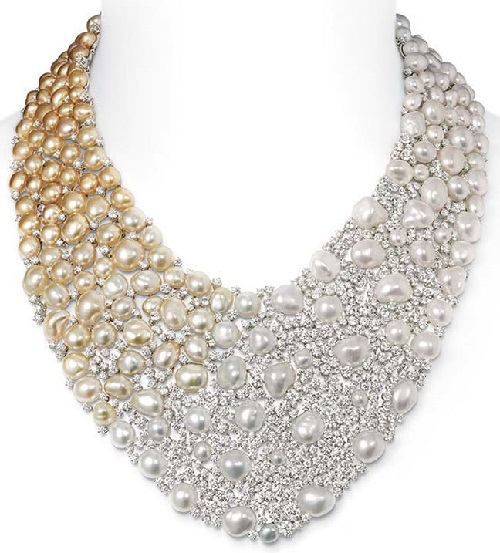 Mikimoto Aurora necklace with Golden South Sea Keshi pearls, and 64.36ct of diamonds, set in white gold