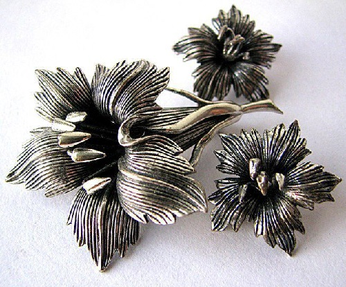 Napier sterling silver set of brooch and clips