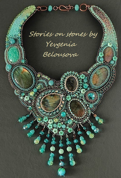 Necklace 'Peacock' of beads and natural stones. Stories on stones by Yevgeniya Belousova