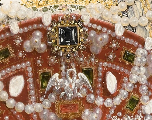 Nicholas Hilliard. Portrait of Queen Elizabeth I, detail of decoration
