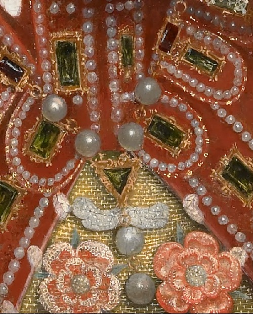 Nicholas Hilliard. Portrait of Queen Elizabeth I detail of dress