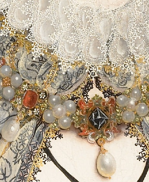 Nicholas Hilliard. Portrait of Queen Elizabeth I, detail of dress