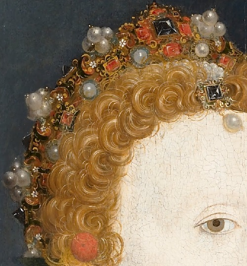 Nicholas Hilliard. Portrait of Queen Elizabeth I detail of hairstyle