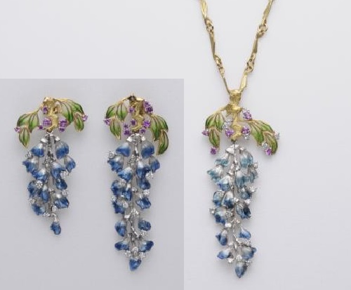 Pendant and earrings. Kunio Nakajima Jewellery Garden