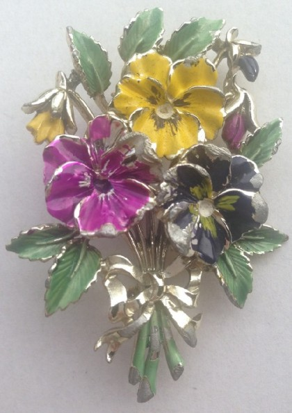 Rare vintage, Exquisite brooch Pansies, England. Is marked Exquisite. Collection 'Birthday' – May