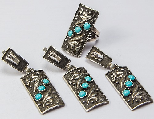 Set, earrings, ring, pendant. Silver 925, turquoise. ArtSat Silver jewelry of masters in Armenia