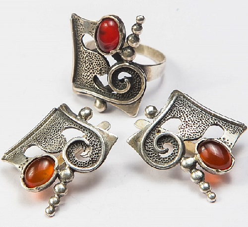 Set, earrings, ring. Silver 925, stone-carnelian. ArtSat Silver jewelry of masters in Armenia