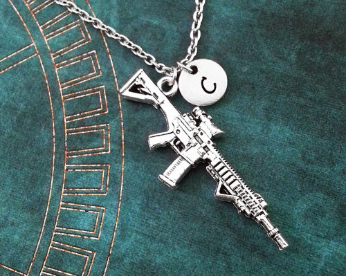 Silver Pendant Necklace Machine Gun