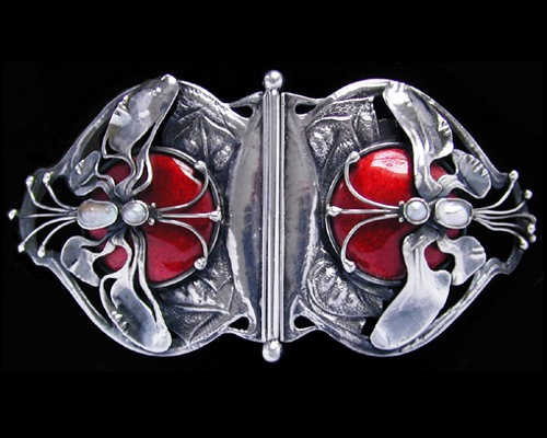 Silver and enamel buckle set mother-of -pearl formed as two winged butterflies