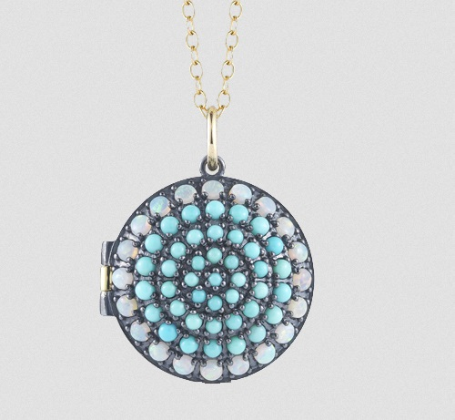 Small Locket Necklace with Turquoise and Opals in 18k Yellow Gold and Oxidized Silver