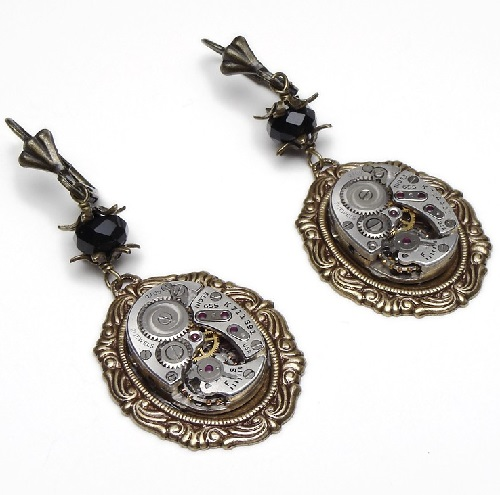 Steampunk Earrings silver watch movements gold leaf flower Vintage black Swarovski crystal dangle drop