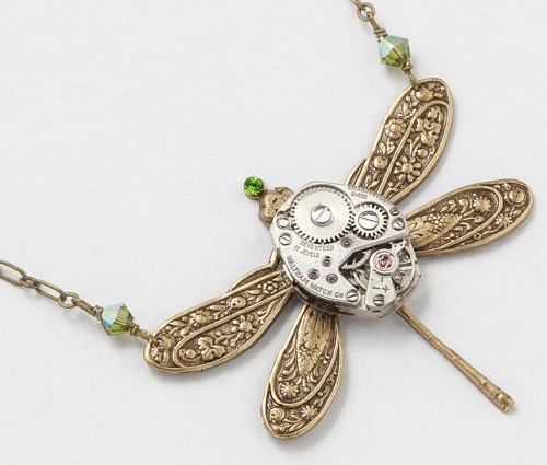 Steampunk Necklace vintage silver watch movement Victorian gold dragonfly pendant