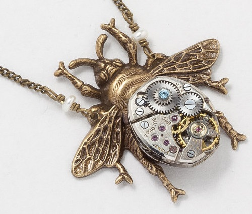 Steampunk Necklace vintage silver watch movement gold bumble bee pearl blue crystal Victorian pendant