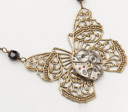 Steampunk Necklace vintage silver watch movement gold filigree butterfly black crystal pendant