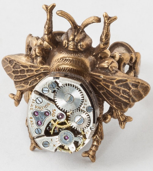 Steampunk Ring Vintage silver watch movement gold bumble bee filigree Statement ring