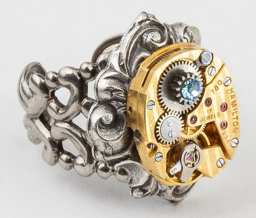 Steampunk Ring vintage gold Hamilton watch movement blue crystal Statement Ring