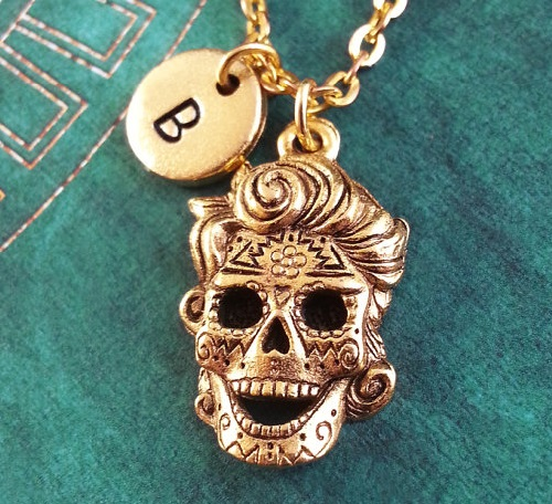 Sugar Skull with Hair Necklace
