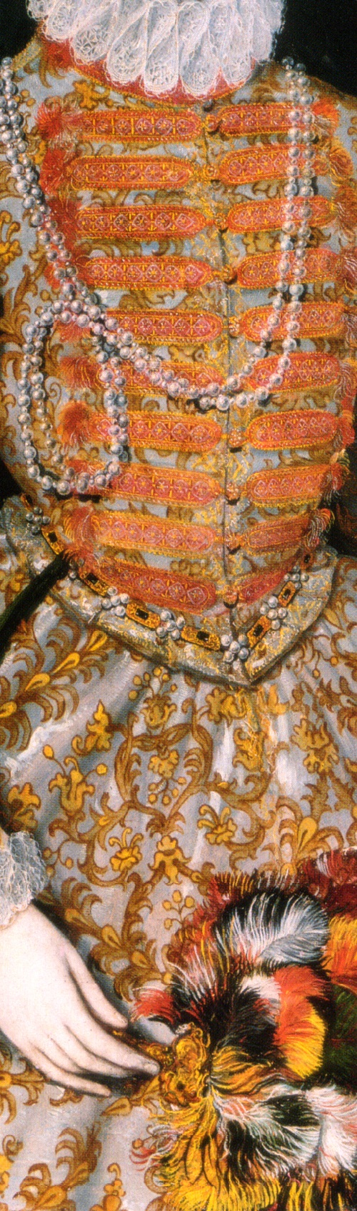 The 'Darnley Portrait' of Elizabeth I (c. 1575), detail