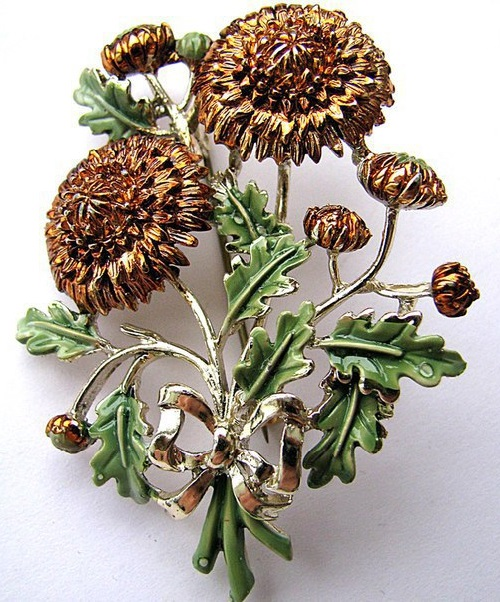 brooch Chrysanthemums. Exquisite Vintage costume jewelry