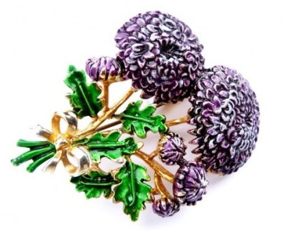 chrysanthemums branches. Labeled Exquisite, 1950 Vintage brooch