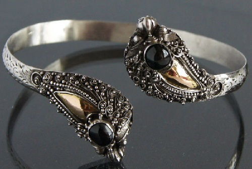 Antique silver bracelet with onyx Firebird