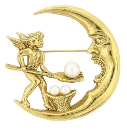 Angel and Crescent Moon Pin, antiquities Couture Gold-Tone