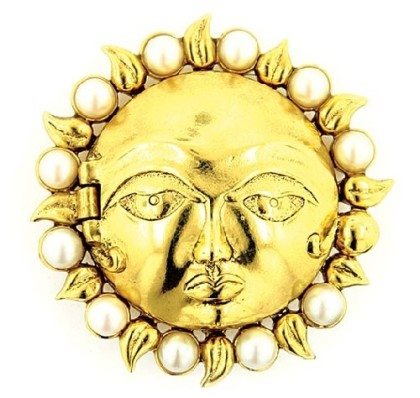 Celestial Sun Locket Brooch. Antiquities Couture Gold-Tone