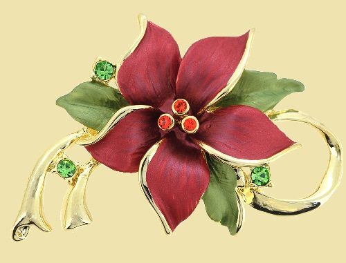 Beautiful Christmas star Poinsettia, Swarovski crystal flower brooch