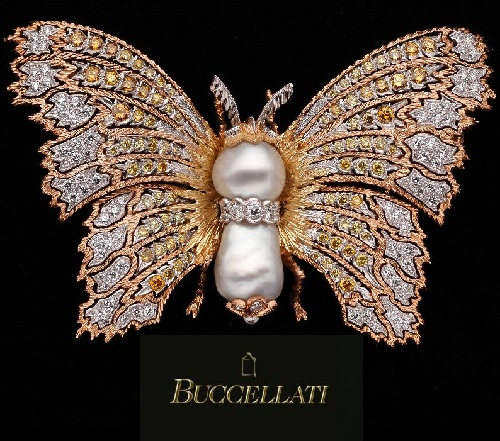 Beautiful Lace butterfly brooch and virtuoso engraving is a distinctive Buccellati style