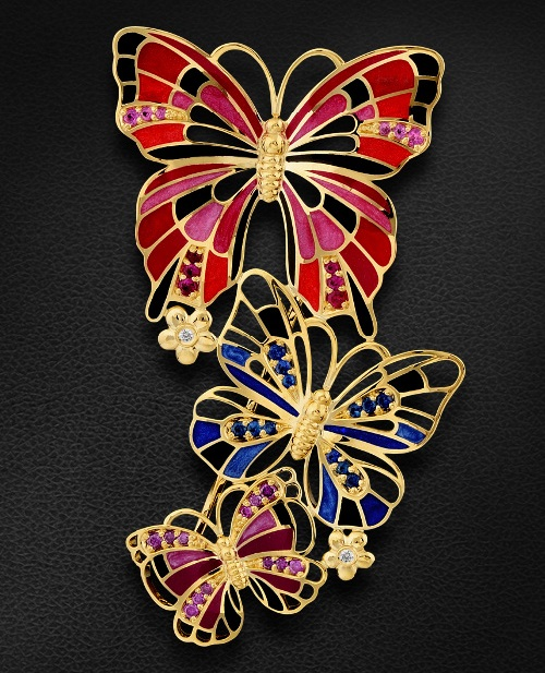 Brooch 'Butterfly' with colored stones, diamonds, enamel yellow gold