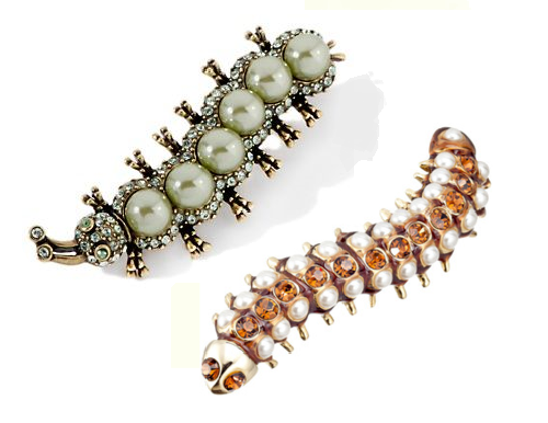 Brooch 'Caterpillar'. Silver, pearls