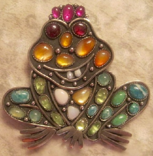 Brooch Frog Princess, natural stones, crown of rubies