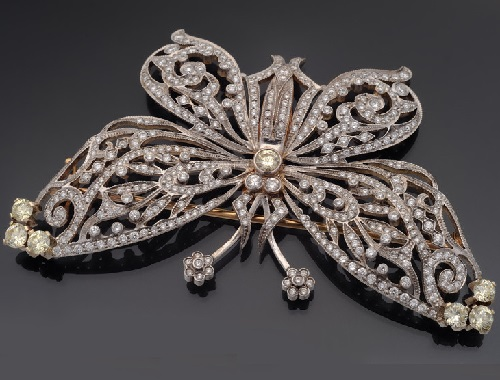 Brooch of gold and diamonds rauchtopaz