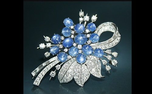 Brooch - star sapphires, diamonds, platinum
