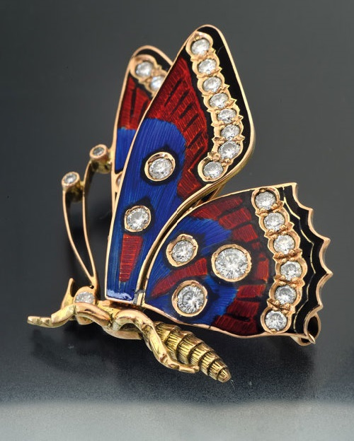 Butterfly brooch of gold with enamel and diamonds jewelry by Catherine Kostrigina