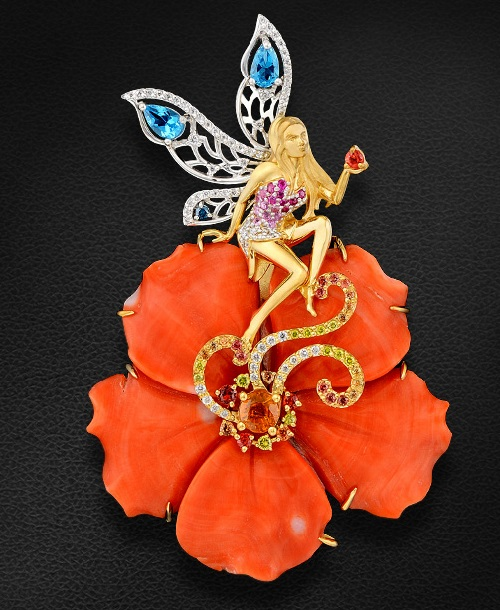 Dona Maria de la Concepcion butterfly. Butterfly girl. Necklace with colored stones and diamonds
